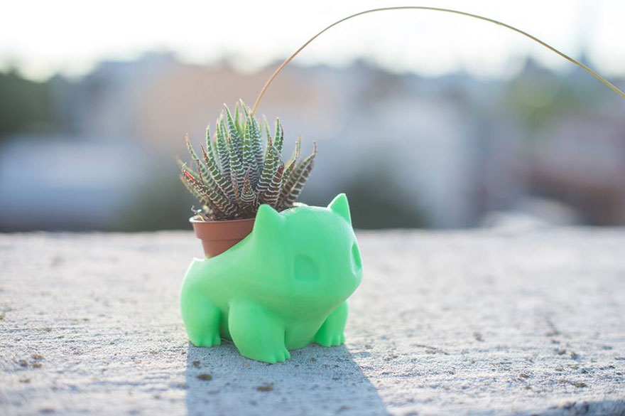 Chậu cây độc đáo theo phong cách Pokemon bulbasaur in 3D chau cay doc dao