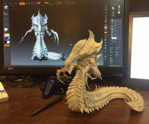 Tạo mẫu 3D ác quỷ Hydralisk. thiết kế mẫu 3D nhân vật game